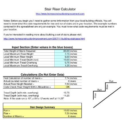 Stair Stringer Calculator / Free Spreadsheet