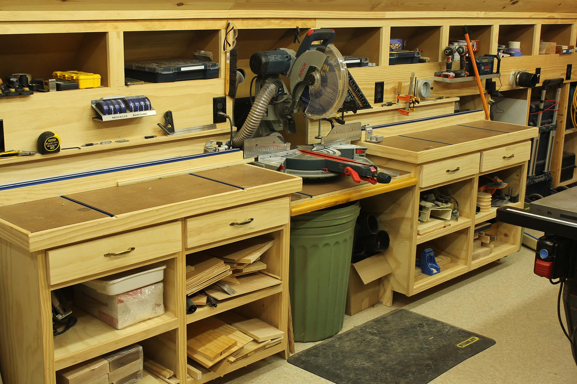 Woodshop Miter Saw Bench and Storage - Home Construction ...