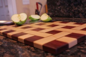 Basket Weave Cutting Board Using Maple Walnut And