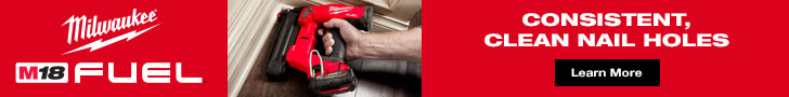 Milwaukee M18 Fuel. Consistent, clean nail holes.